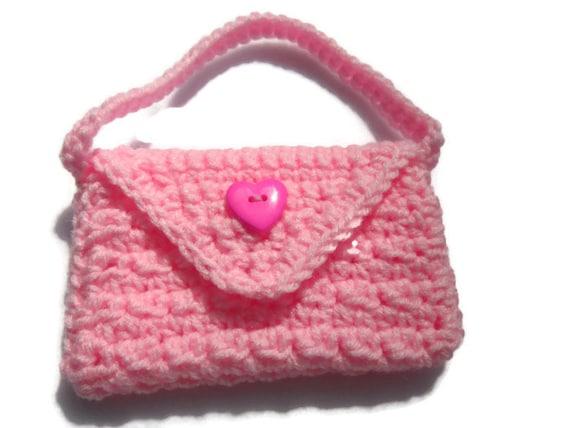 Little Girls Purse, Crochet Flower Girl Handbag, Minature Bride Gift ...