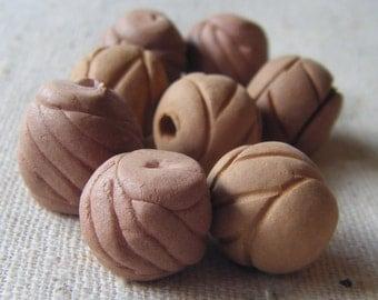 Tribal Ethnic Terracotta Chunky Beads (8) Boho, Nature, Clay, Handmade, Rustic