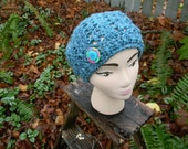 Brillant in Blue Crocheted Slouchy Beanie with Button Trim