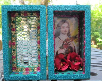 Saint Teresa mini nicho, altar, folk art,