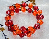 CRYSTAL FLAMES  DICE - Acrylic  Beads - Memory Wire Wrap Coil Bracelet