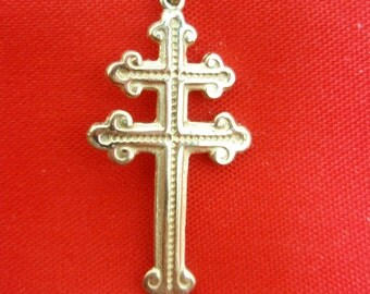 Cross of Lorraine French Foreign Legion Pi Team Magnum Pendant Solid 14k Gold
