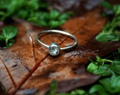 White Topaz and Sterling Silver Engagement or Stacking Ring