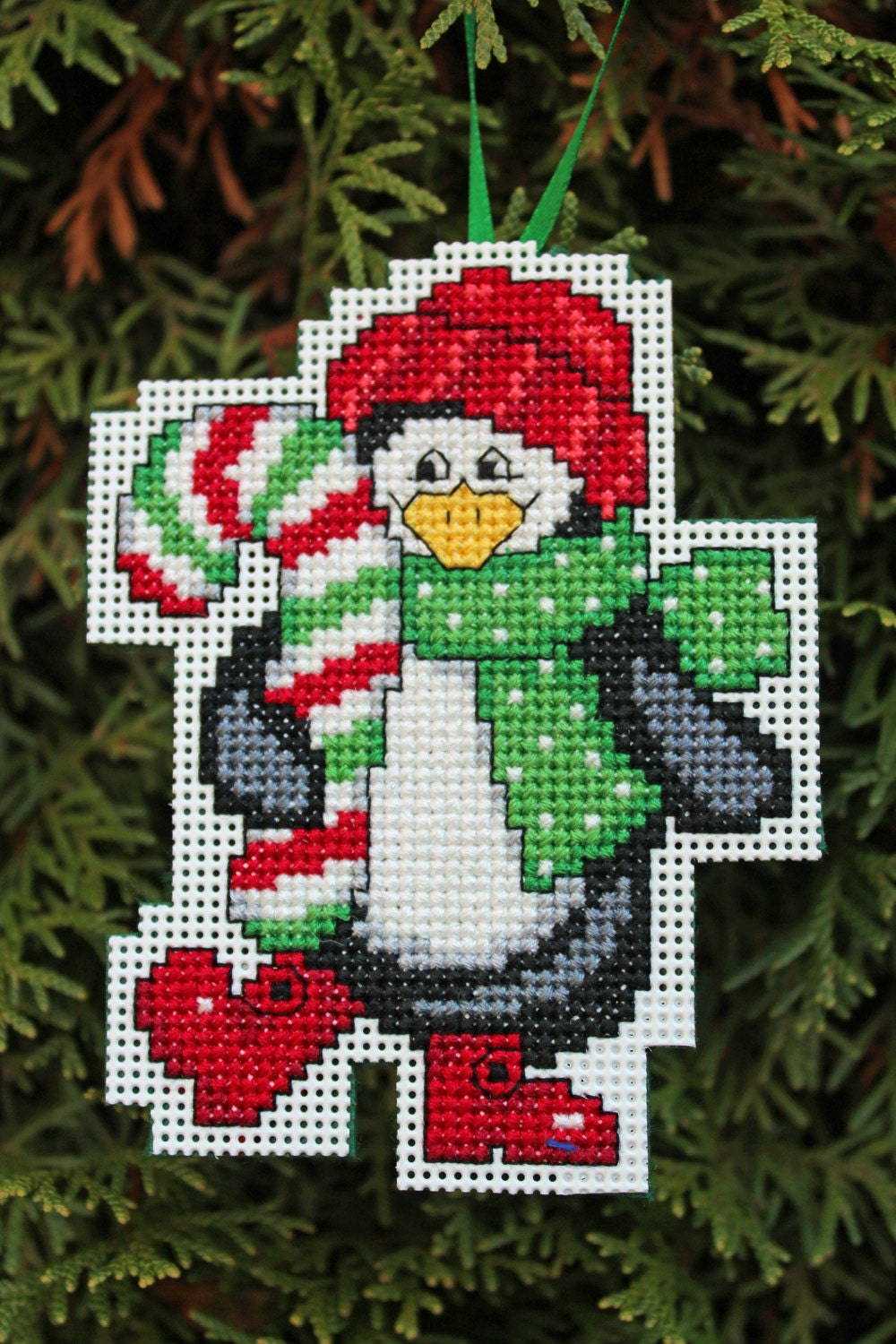 Cross Stitch Christmas Ornament Penguin Holding Candy Cane