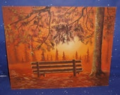 Canvas Board Oil Painting Forest Woods Trees Park Bench Sunset Landscape