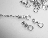 925 Sterling Silver Crimp Endcap with Ring For Small Chain, 6.5x3mm, hole 2mm, 10 pcs