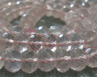 AAA Rose Quartz, Rose de France Micro Faceted Rondelles 6x4.5mm, 1/2 strand - 15% off