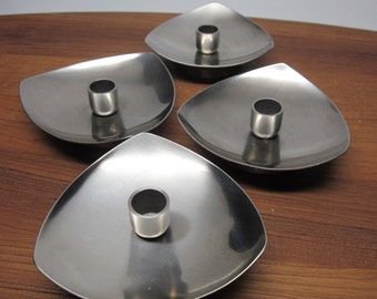 4 Stelton Stainless Steel Candle Holders - Denmark