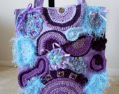 Lavender Canvas Tote Bag Embellished with blue and purple free-form crochet and gems//purse -PRICES SLASHED!