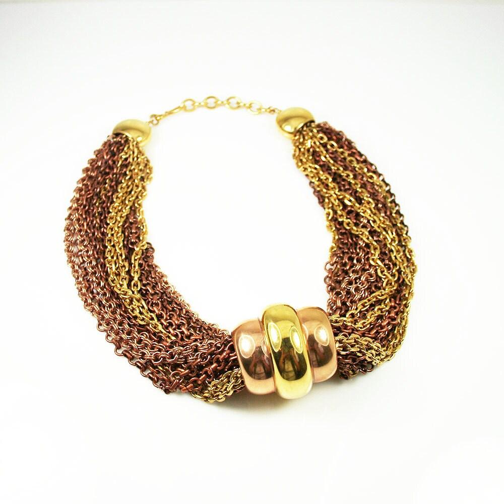 monet necklace gold copper tone metal multi chain modernist