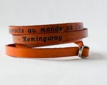 Hemingway Paris Quote in French Ultra Long Hand Carved Leather Wrap Bracelet
