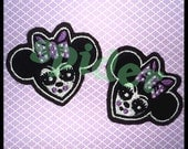 Spooky Minnie Mouse Inspired Embroidered Patch Patches Iron on Embroidery Patches Small Lilac