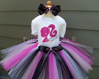 Custom Tutus... BARBIE SILHOUETTE..with NAME..size 3,6,9,12,18,24 months and 2T,3T,4T,5T,6T years,costume, birthday, dress up