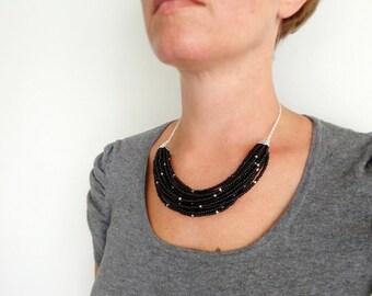 Black statement necklace layered bib necklace multi stranded bib minimalist chunky necklace