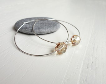 Silver hoop earrings swarovski crystal earrings hoop earrings silver champagne