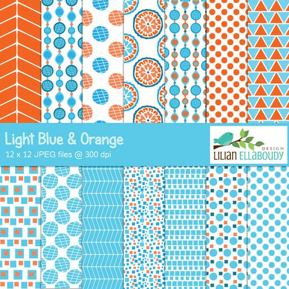 Light blue and orange digital papers retro vintage by ...