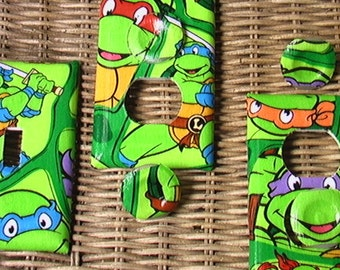 TMNT Michelangelo Donatello Leonardo Raphael Single Switch Plate and 2 Outlets