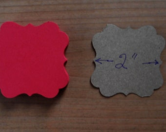 Christma  Red Fancy Square Bracket Tags (24)