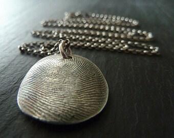 Fingerprint Necklace. Personalized Keepsake. Fine Silver Thumbprint Jewelry. Made to Order Fingerprint Jewelry
