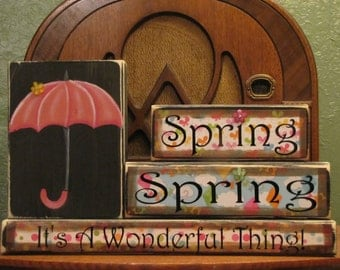 Spring Sign, Spring Decor, Spring Blocks - Spring, Spring, It's A Wonderful Thing!