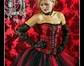 BITTEN Vampire Costume with Tutu, Lace Corset, Choker and Feathered Headpiece - S-XXL