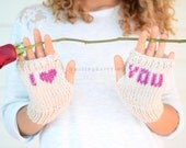 I Love You Fingerless Gloves, Hand Knit Gloves, Arm Warmers, Christmas Gift, Valentines Day Gift,Stocking Stuffers, Gift For Her, Under 25