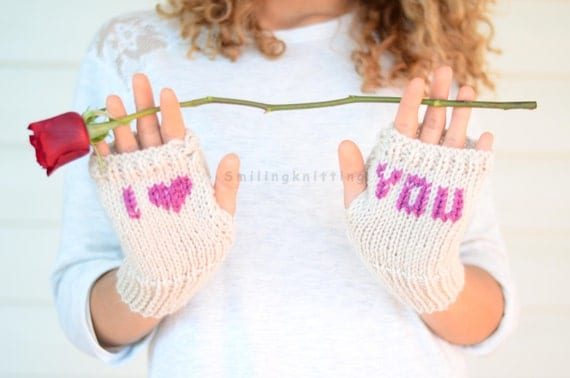 Heart Knit Gloves, Valentines Day Gift, I Love You, Fingerless Gloves, Hand Knit Gloves, Arm Warmers, Gift For Her, Under 25