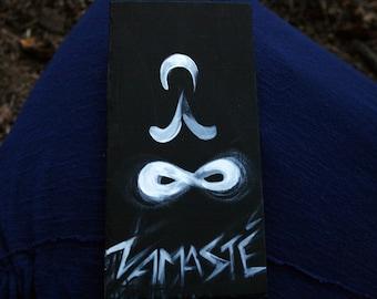 "Little Yogi mini painting - ""Namaste"" - Mini Original Painting -  black and white art - 4 X 8  - magnet - Lemurian Diamond"