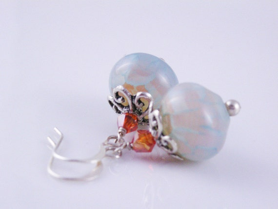 Blue Dragon's Vein Agate with Orange Crystal Bicones and Antiqued Silver Heart Bead Caps