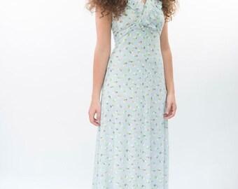 1970s halter neck maxi dress