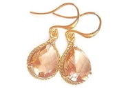 Rosaline, Peach, Champagne Earrings, mother's day jewelry, Bridesmaids Jewelry, Gifts