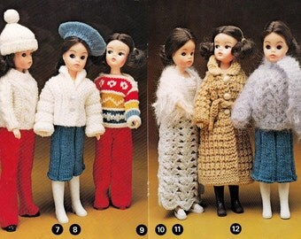 Knitting Patterns Dolls Teddy Bear Clothes 1970s Vintage Patons C38 23 different outfits to knit