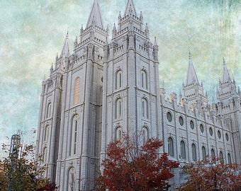 Salt Lake LDS Temple -  Portrait Style- Instant DIGITAL DOWNLOAD - Large Temple Print