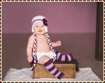 Hat, Diaper Cover, Leg Warmer Crochet Patterns, HANNAH - pdf 227, 709, 703
