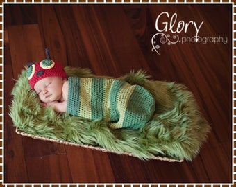 Crochet Hungry Caterpillar Hat and Cocoon Pattern, HUNGRY CATERPILLAR - pdf 101, 701