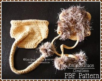 Crochet Lion Bonnet Hat and Diaper Cover Patterns, LIL' LION HEART - pdf 132, 716