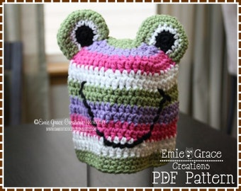 Frog Hat Crochet Pattern, 8 Sizes from Newborn to Adult, SILLY STRIPE FROGGY - pdf 120