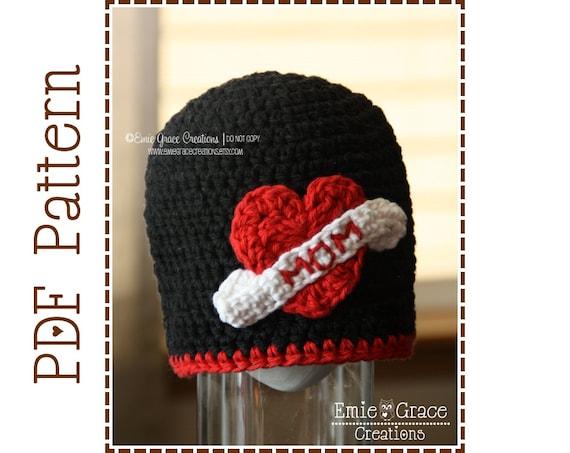 Love Mom Hat Crochet Pattern, 8 Sizes from Newborn to Adult, HEART TATTOO - pdf 307