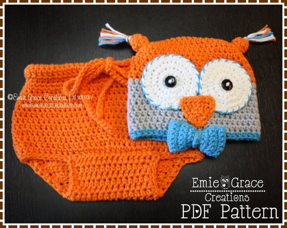 Free Crochet Owl Hat And Diaper Cover Pattern : Owl Hat and Diaper Cover Crochet Patterns OLIVIA and