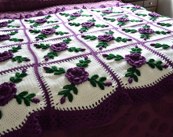 Purple Wild Rose Afghan Blanket Throw - Will be Custom Made after sale - 20 squares