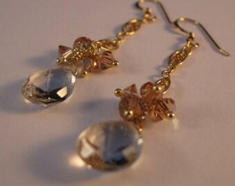 Amethyst Cluster Earrings,drop earrings,dangle earrings,gold earrings, amethyst earrings, cluster earrings, gemstone cluster, drop