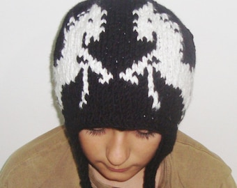 Hand Knit Black Hat with White Horses Winter Hat  / Earflap Hat / Ear Flap / Horse Lover Gift for a man / Under USD 100 Outdoors Gift