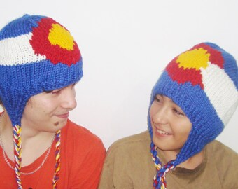 Knit Colorado Flag Hats - Hand knit winter with earflap Colorado Couple hats handknit with ear flap hat - Colorado gifts for couple