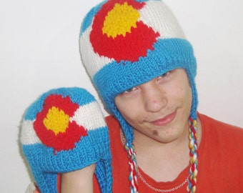 Colorado Flag Hats Blue, White, Red, Yellow hand knit hat Father & Son Matching Hat