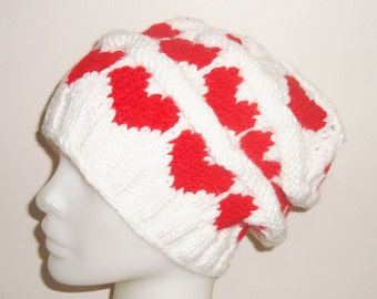 White Hat Women's Winter Hat with Red Hearts Hand Knitted Women Hat