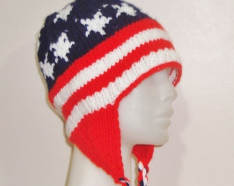 American Flag Hat for Womens Hat with Ear flap in Red White Blue Hand Knit Hat Birthday (U.S.) gift
