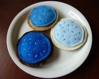 Blue Iced Cookies - Felt Play Food