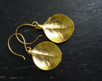 18K Vermeil Large Boxwood Leaf Earrings