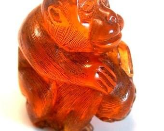 Vintage Japanese amber netsuke -2 Playful Monkeys,siged by artist