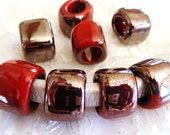 Ceramic Bead Tube Slider Red Silver, Red Grey, Oil On Water for use Oval Licorice Leather Cord 10x6mm- 1 piece